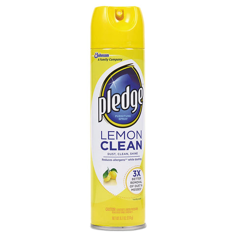 PLEDGE AEROSOL FURNITURE SPRAY CLEANER LEMON SCENT 9.7OZ 12Pack