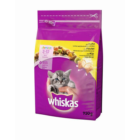 WHISKAS JUNIOR CHICKEN CAT FOOD DRY 950GX5Pack