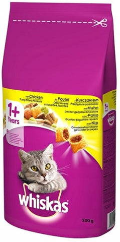 WHISKAS ADULT CHICKEN CAT FOOD 300GX14Pack