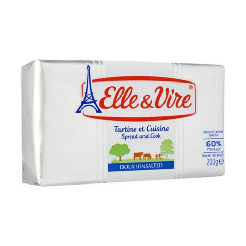ELLE & VIRE BUTTER UNSALTED 60% 200 gms x 40 Packs