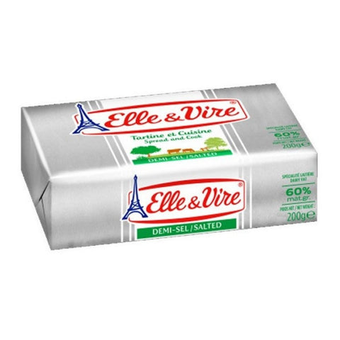ELLE & VIRE BUTTER SALTED 60% 200 gms x 40 Packs