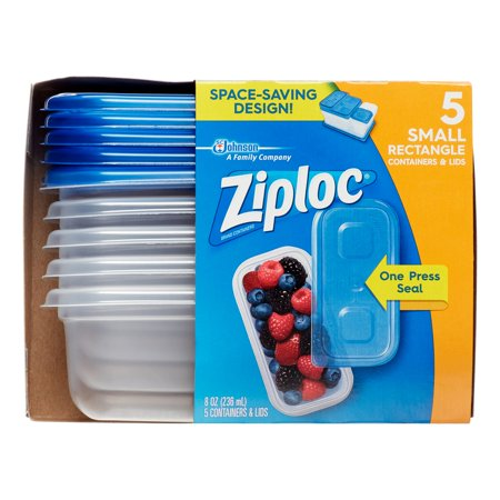 ZIPLOC CONTAINER SMALL RECTANGLE 5x8oz (6Pack)
