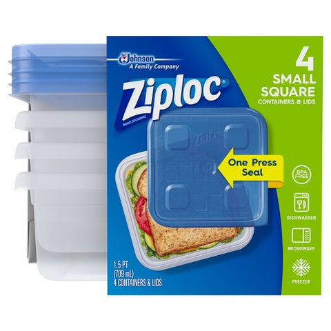 ZIPLOC CONTAINER SMALL SQUARE 4CT 6Pack