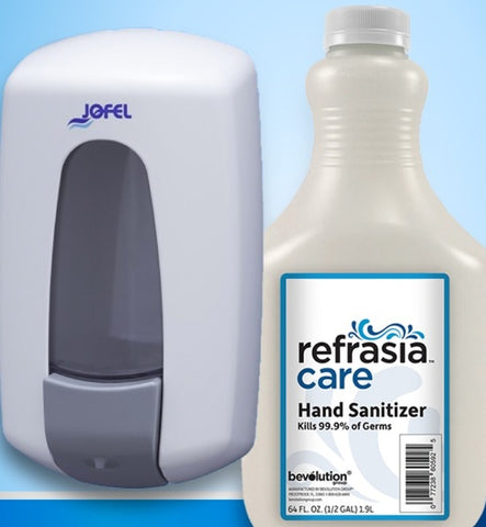 JOFEL DISPENSER +64OZ SANITIZER COMBO DEAL