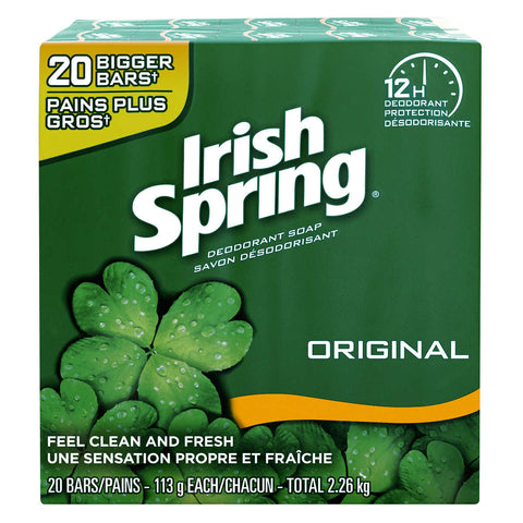 IRISH SPRING BAR SOAP 3.7 OZ x 20 Pack
