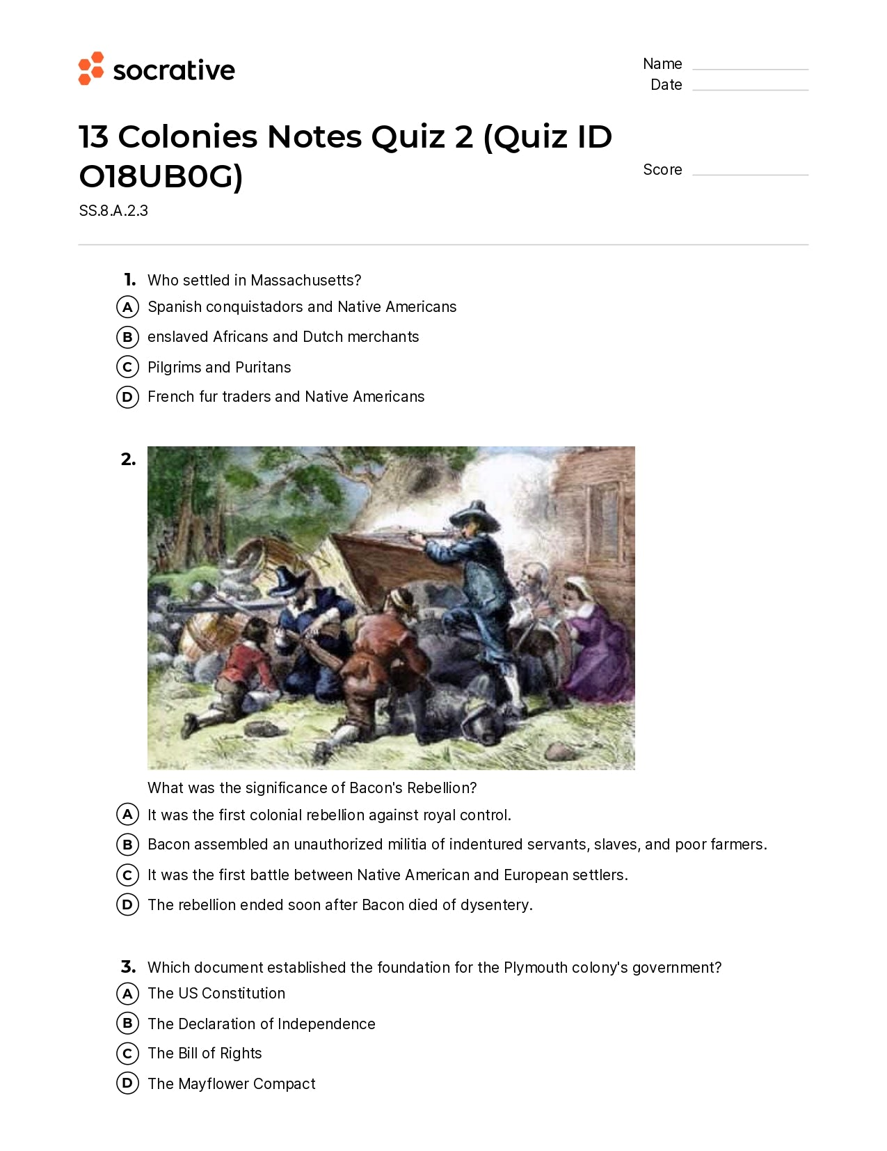 13 Colonies Notes Quiz 2