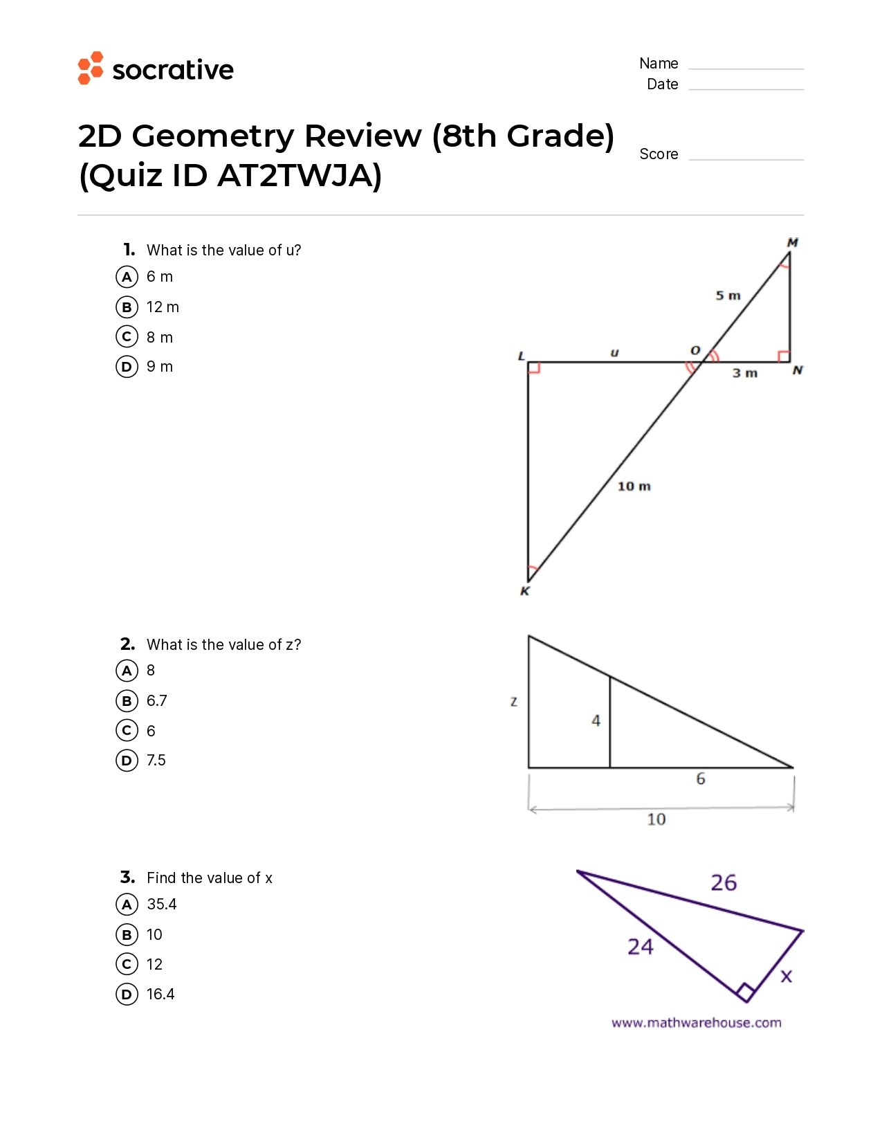 2D Geometry Review (8Th Grade)