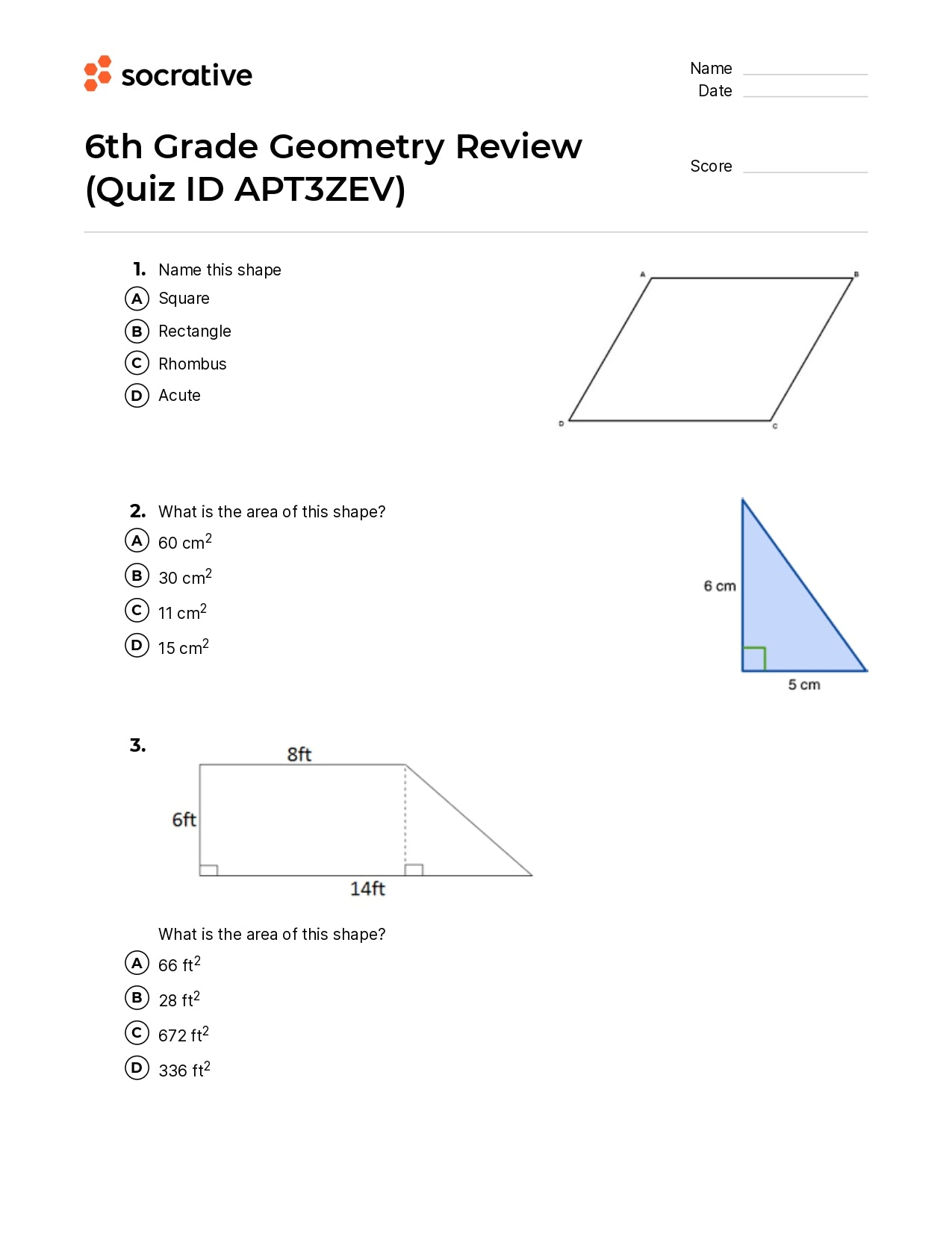 6Th Grade Geometry Review