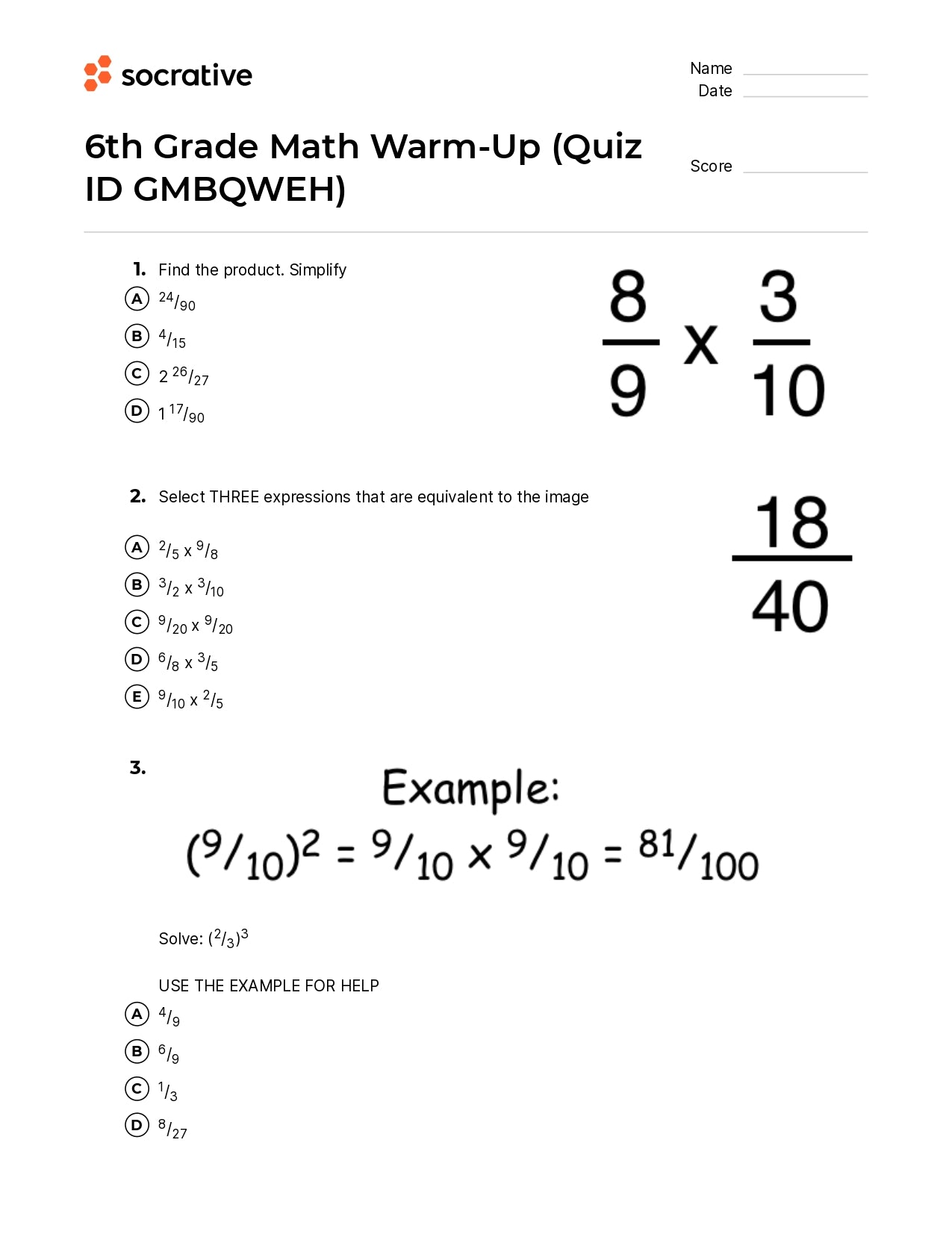 6Th Grade Math Warm-Up