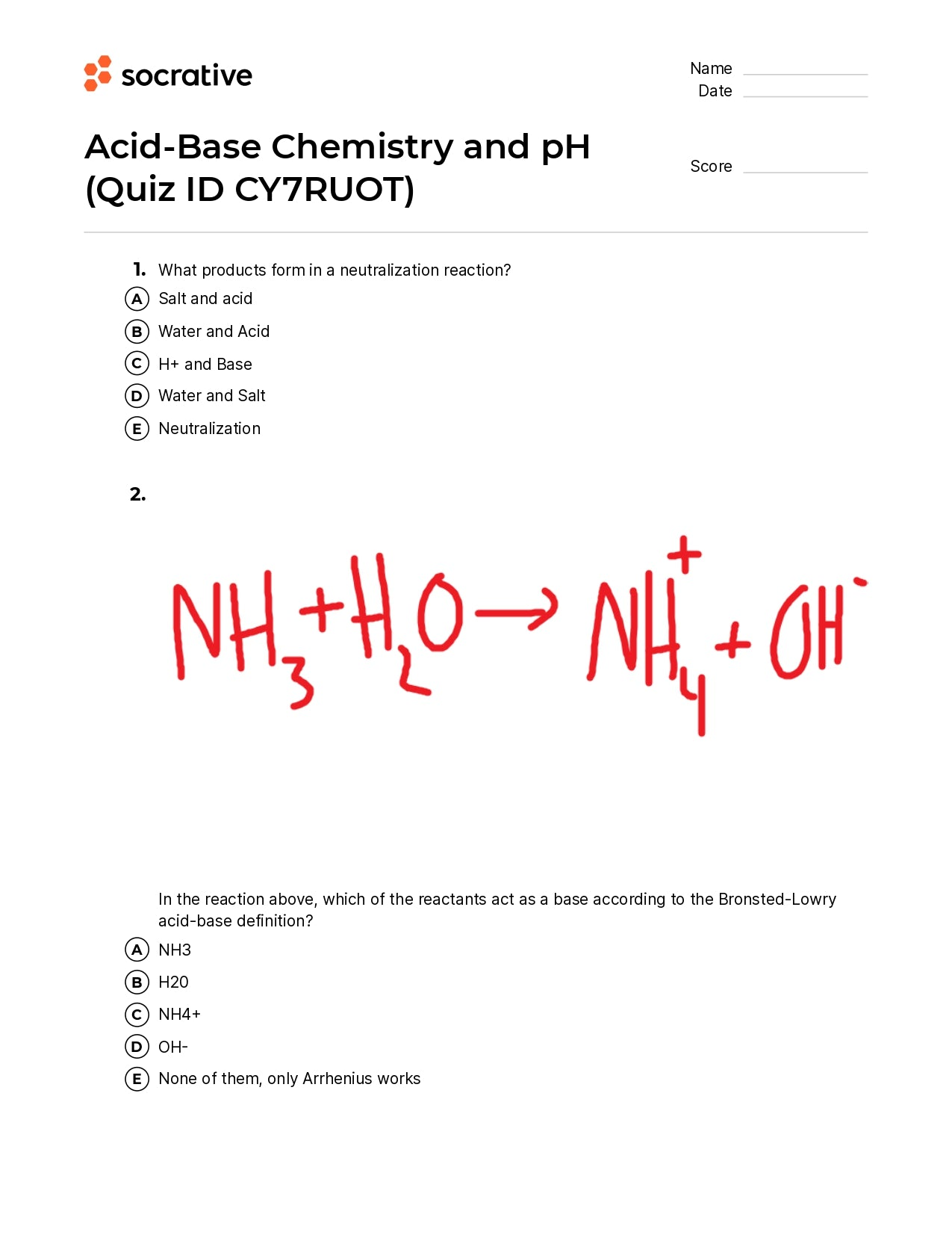 Acid-Base Chemistry And Ph