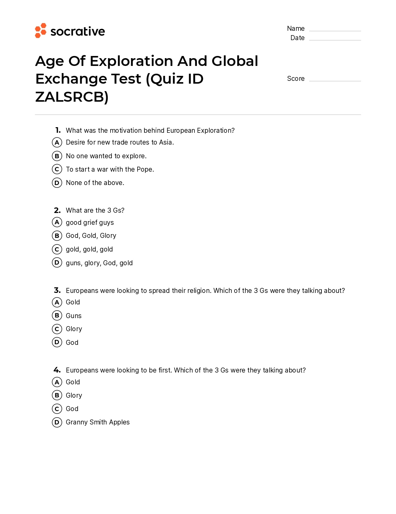 Age Of Exploration And Global Exchange Test