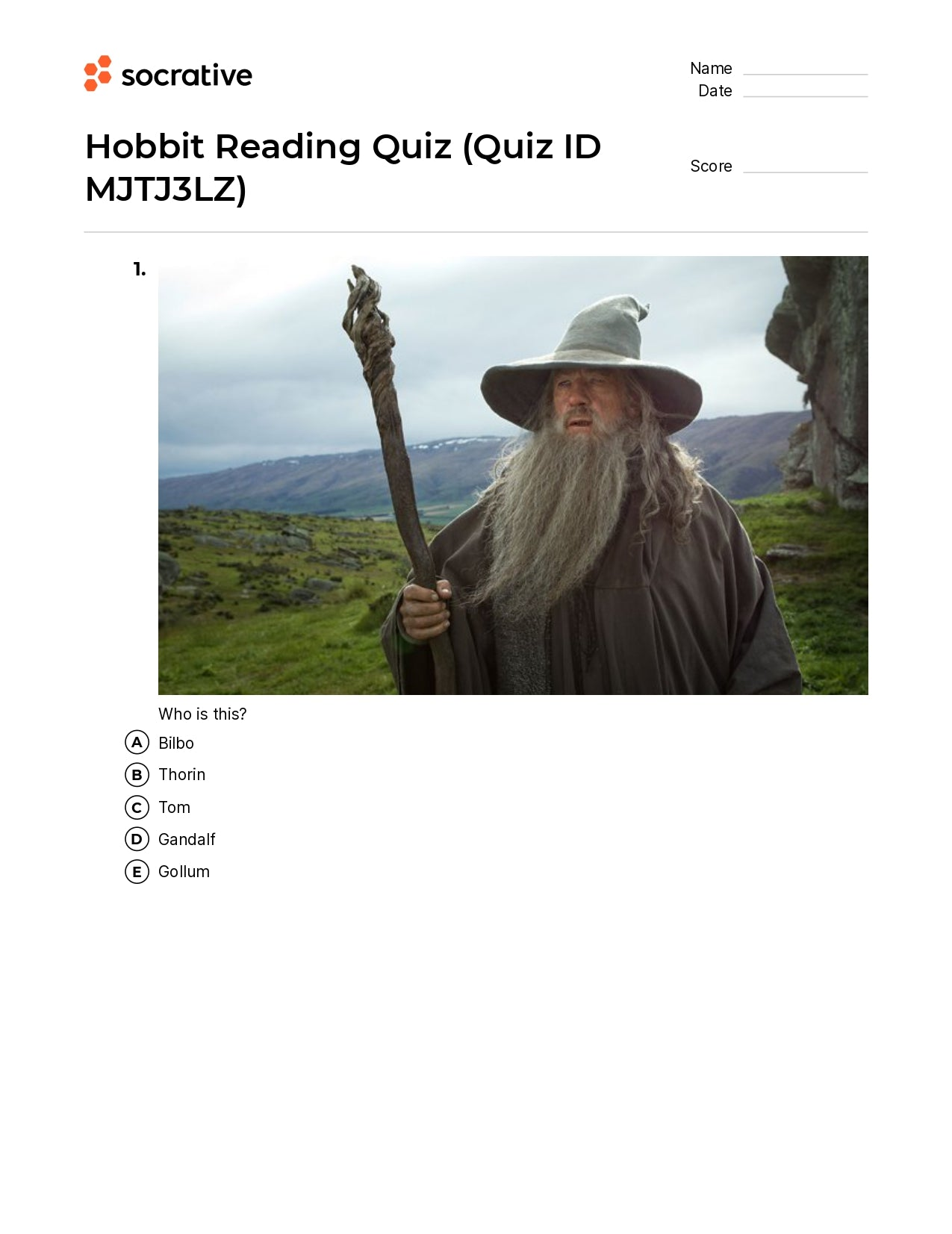 Hobbit Reading Quiz