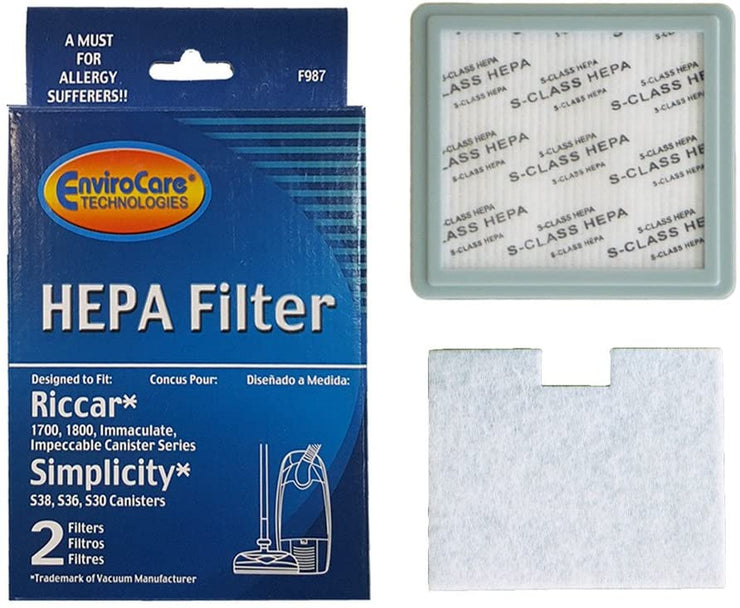EnviroCare HEPA And Charcoal Vacuum Cleaner Filter Set for Riccar and Simplicity 1700 & 1800 -
