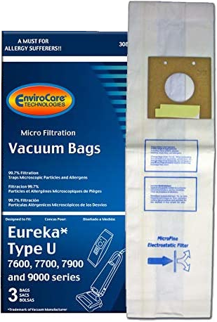 EnviroCare Replacement Vacuum Bags for Eureka Style U Models - 3 Pack