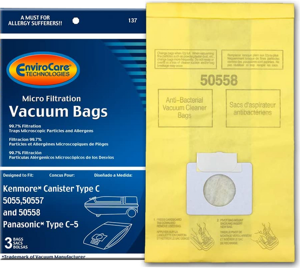 EnviroCare Vacuum Bags for Kenmore Style C & Q Canisters - 3 Pack