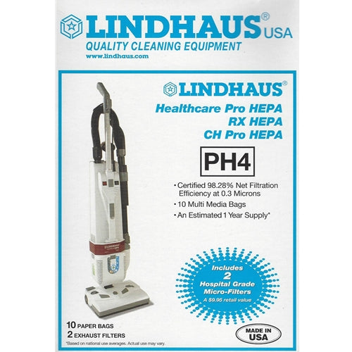 Lindhaus Healthcare Pro PH4 HEPA Vacuum Cleaner Bags - 10 Pack with 2 Filters