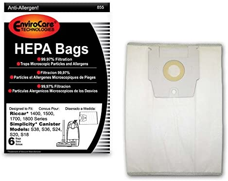 EnviroCare HEPA Filtration Vacuum Dust Bags for Riccar Type H Canisters - 6 Pack