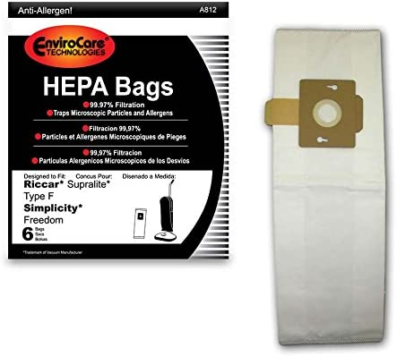 EnviroCare HEPA Filtration Vacuum Dust Bags for Riccar Type F Uprights - 6 Pack