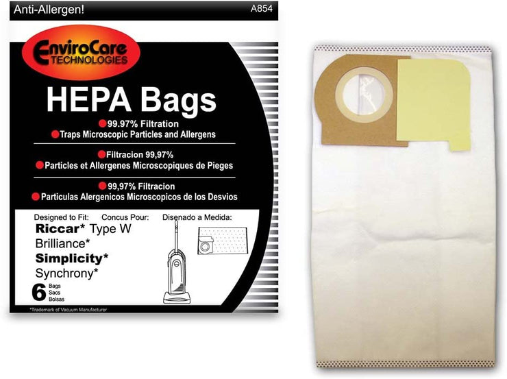 EnviroCare HEPA Filtration Vacuum Dust Bags for Riccar Type W Uprights - 6 Pack
