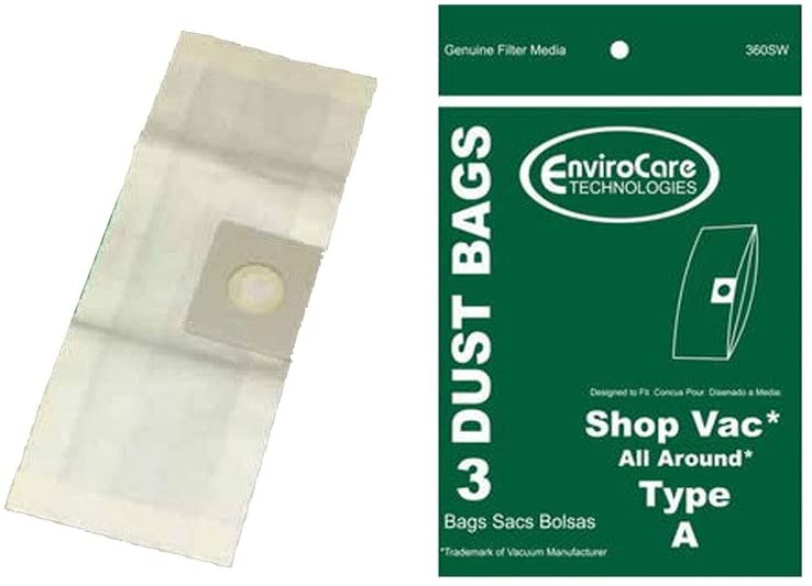 EnviroCare ShopVac Type A 1.5 Gallon Wet Dry Shop Vac Bags SV-9066700 - 3 Pack