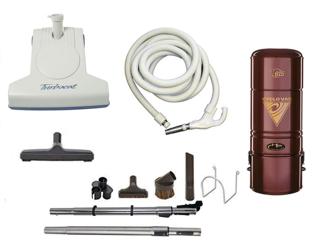 Complete Turbo Cat Central Vacuum Package with H615 Power Unit