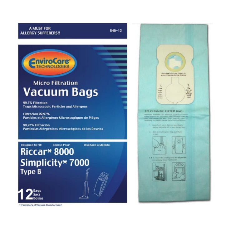 EnviroCare Type B Vacuum Cleaner Bags for Riccar 8000 Simplicity 7000 - 12 Pack