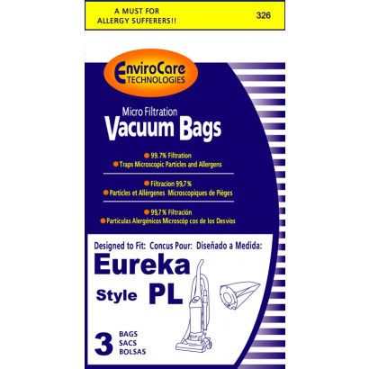 EnviroCare Replacement Vacuum Bags for Eureka Type PL Uprights - 3 Pack
