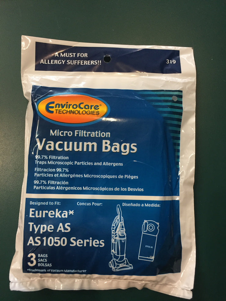 EnviroCare Replacement Eureka Type AS Micro Filtration Vacuum Cleaner Dust Bags - 3 Pack