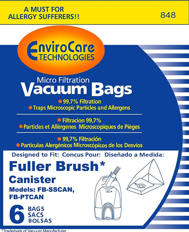 EnviroCare Vacuum Bags for Fuller Brush Canisters FB-SSCAN & FB-PTCAN - 6 Pack