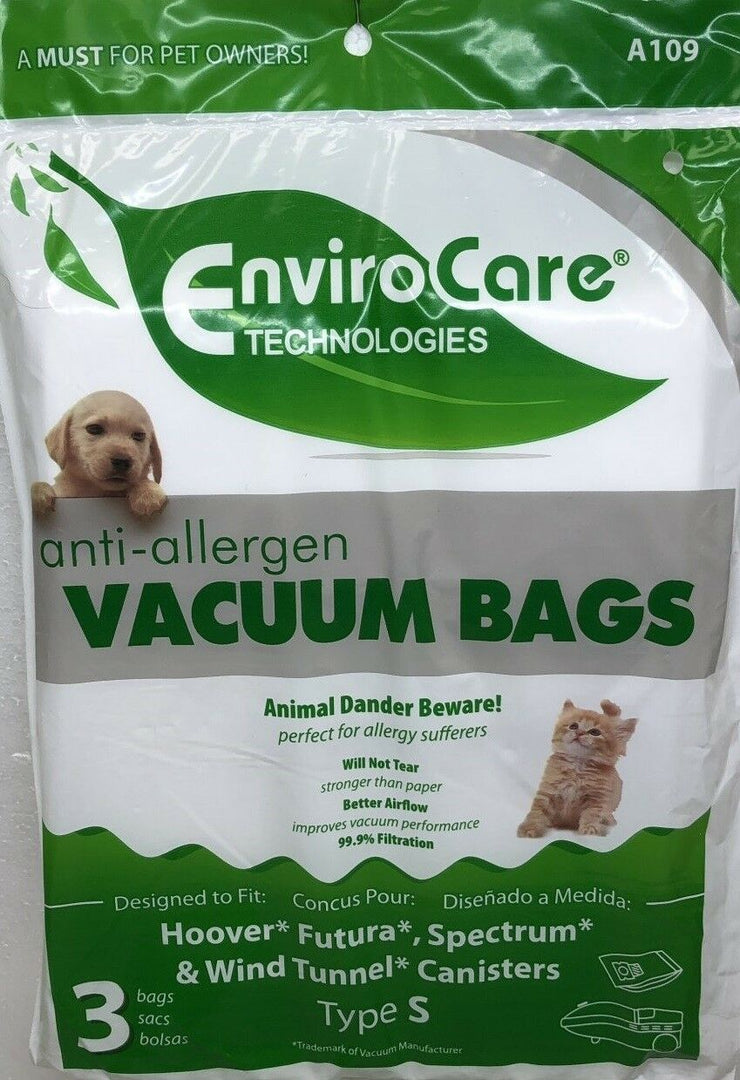 EnviroCare Replacement HEPA Vacuum Bags for Hoover Type S Canisters - 3 Pack