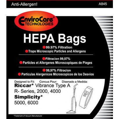 EnviroCare HEPA Bags for Riccar Type A, R- Series, & Simplicity Vacuums - 6 Pack