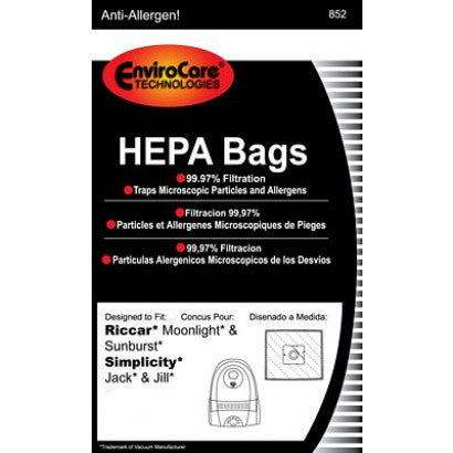 EnviroCare HEPA Filtration Vacuum Dust Bags for Riccar Type Z Canisters - 6 Pack
