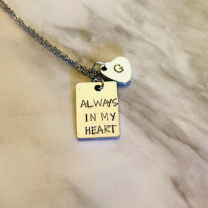 Always in my heart necklace with monogram charm