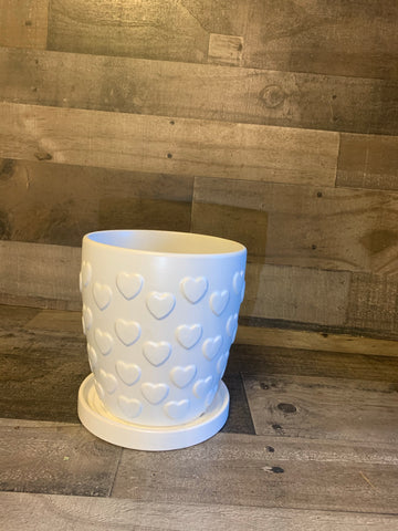 White Heart Pot