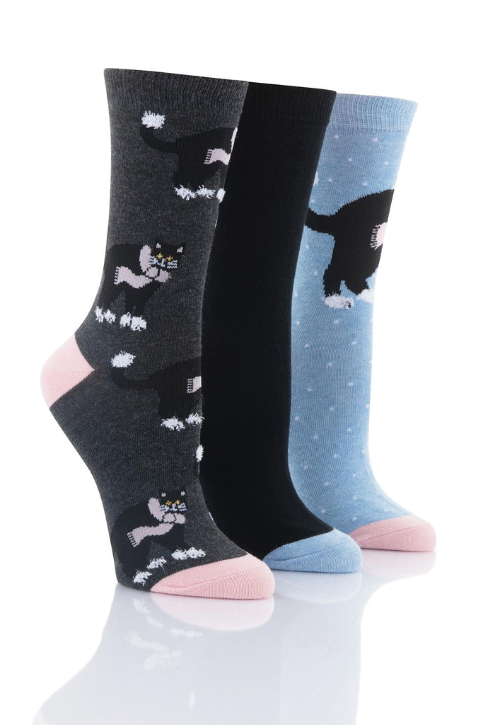 Ladies Black Cat Socks