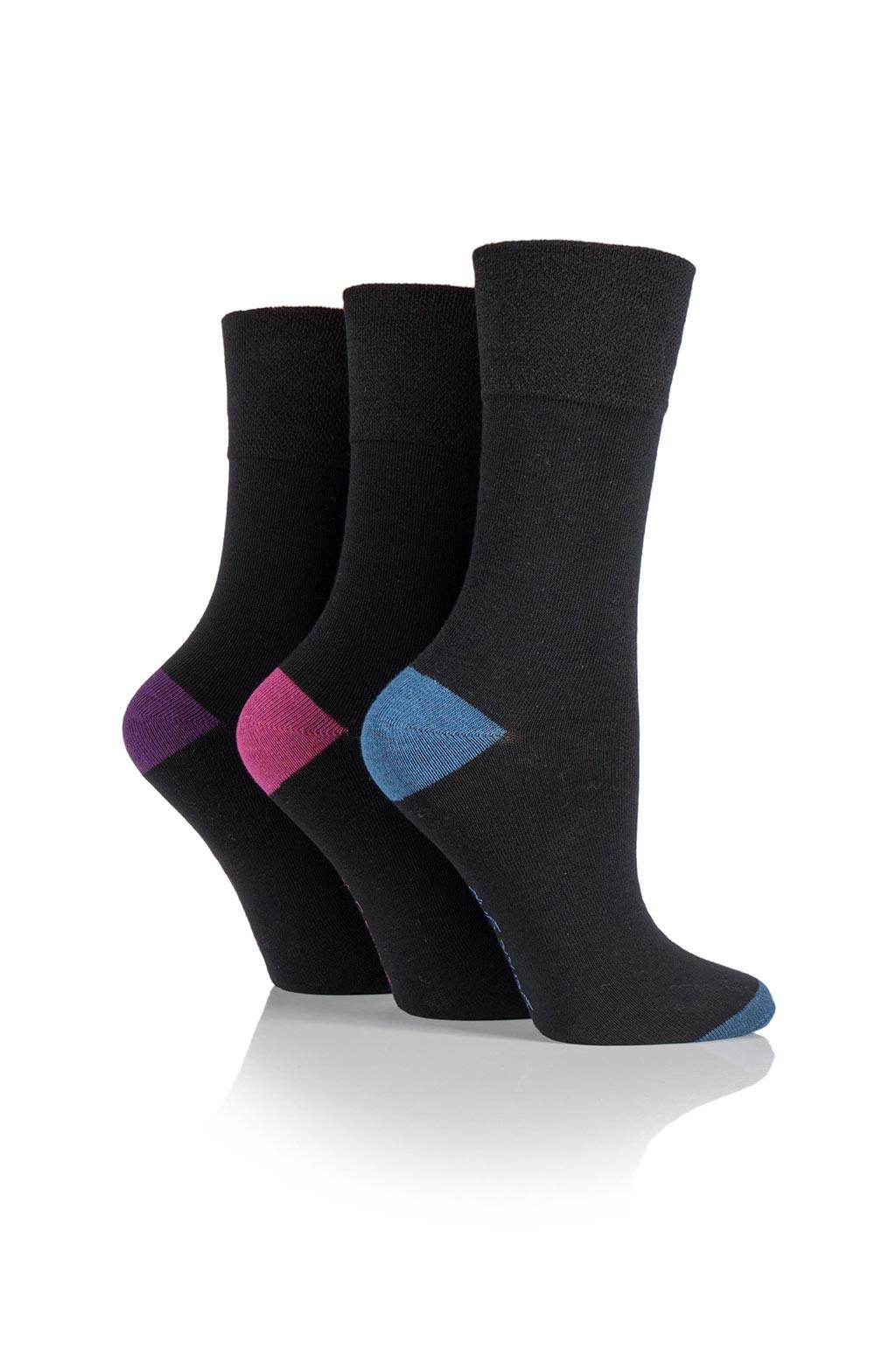 Ladies 5 Pack Contrast Heel and Toe Cotton Rich Socks One Size
