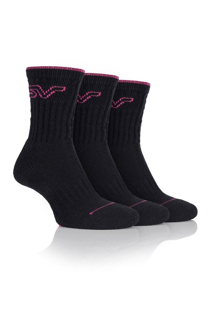 Ladies Luxury Boot Socks - Black/Pink, 3 Pair Pack