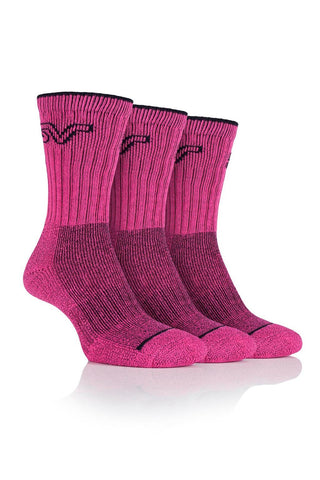 Ladies Luxury Boot Socks - Cerise/Black, 3 Pair Pack