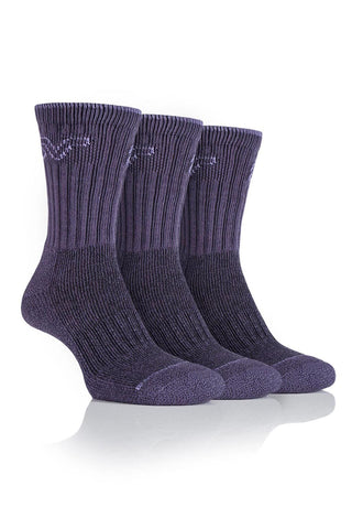 Ladies Luxury Boot Socks - Lilac/Purple, 3 Pair Pack