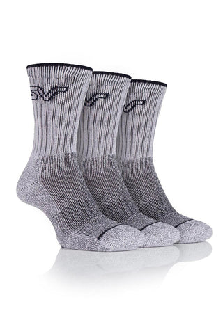 Ladies Luxury Boot Socks - Stone/Charcoal, 3 Pair Pack
