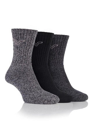 Ladies Marl Boot Socks - Black/Charcoal, 3 Pair Pack