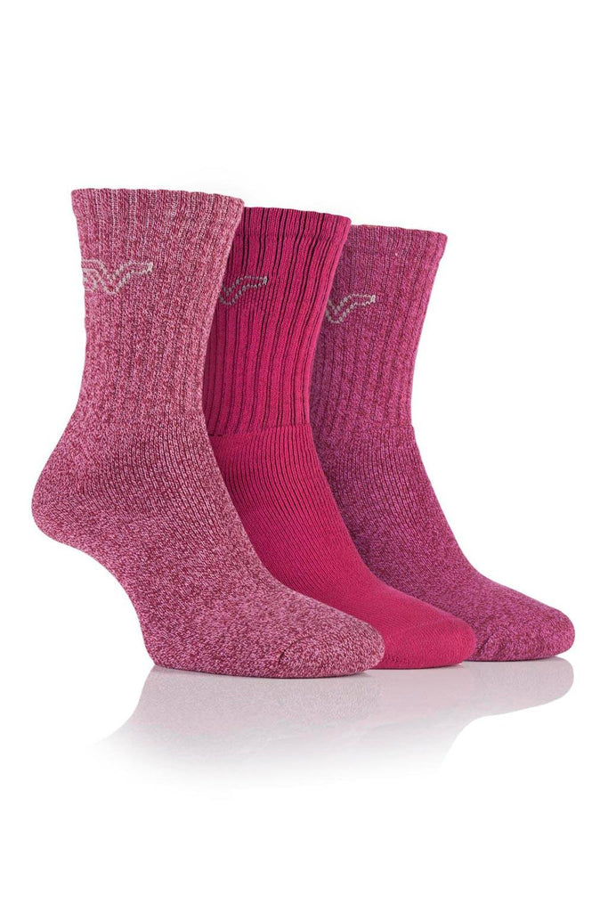 Ladies Marl Boot Socks - Cerise/Pink, 3 Pair Pack