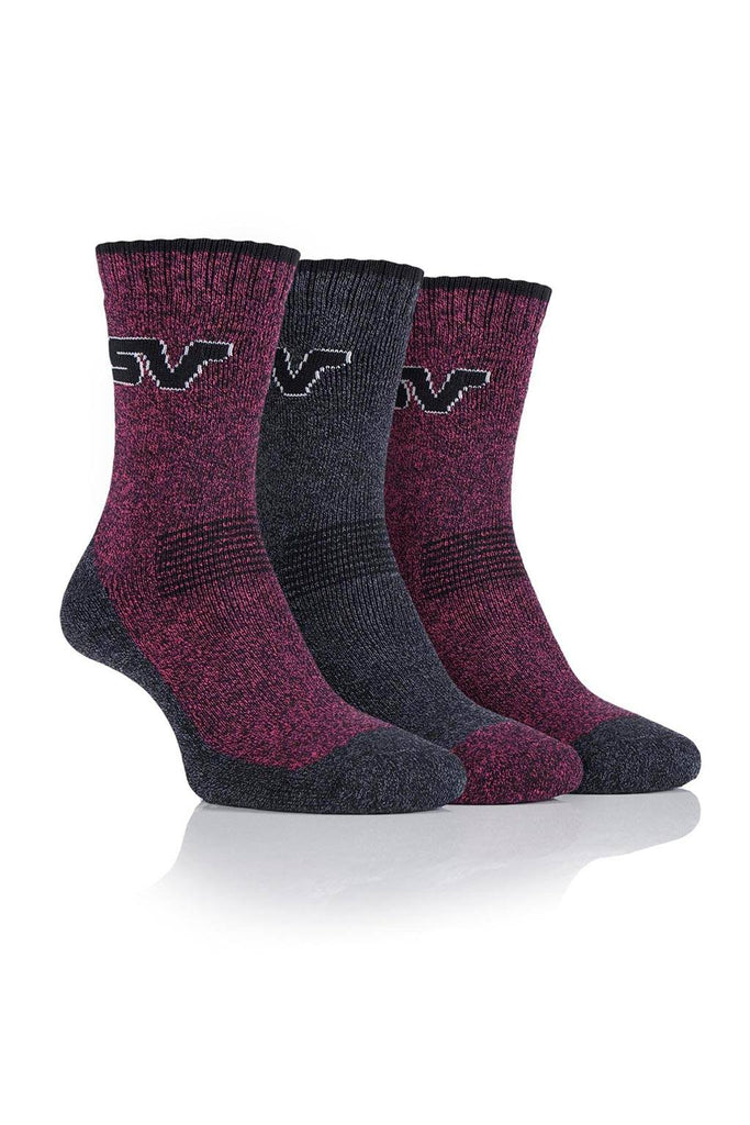 Ladies Performance Polyester Marl Boot Socks - Black/Cerise, 4 Pair Pack
