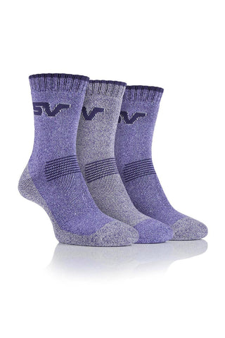 Ladies Performance Polyester Marl Boot Socks - Lilac/Purple, 4 Pair Pack