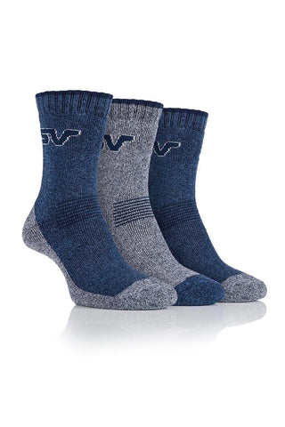 Ladies Performance Polyester Marl Boot Socks - Navy/Grey, 4 Pair Pack