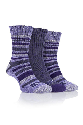 Ladies Performance Polyester Ribbed Leg Boot Socks - Lilac/Purple, 4 Pair Pack