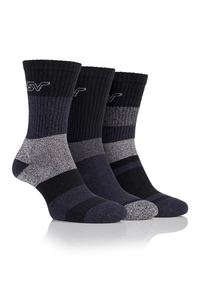 Ladies Striped Boot Socks - Black/Charcoal, 3 Pair Pack