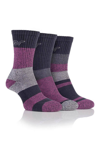 Ladies Striped Boot Socks - Charcoal/Cerise, 3 Pair Pack