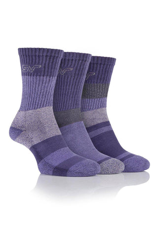Ladies Striped Boot Socks - Lilac/Purple, 3 Pair Pack