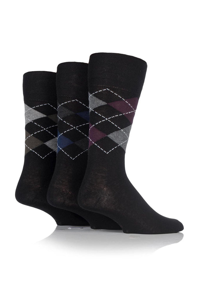 Men's Black Argyle